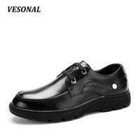 VESONAL Platform Luxury Men Shoes Casual Oxford Genuine Leather Classic Male Elegant Wedding Office Business Dress