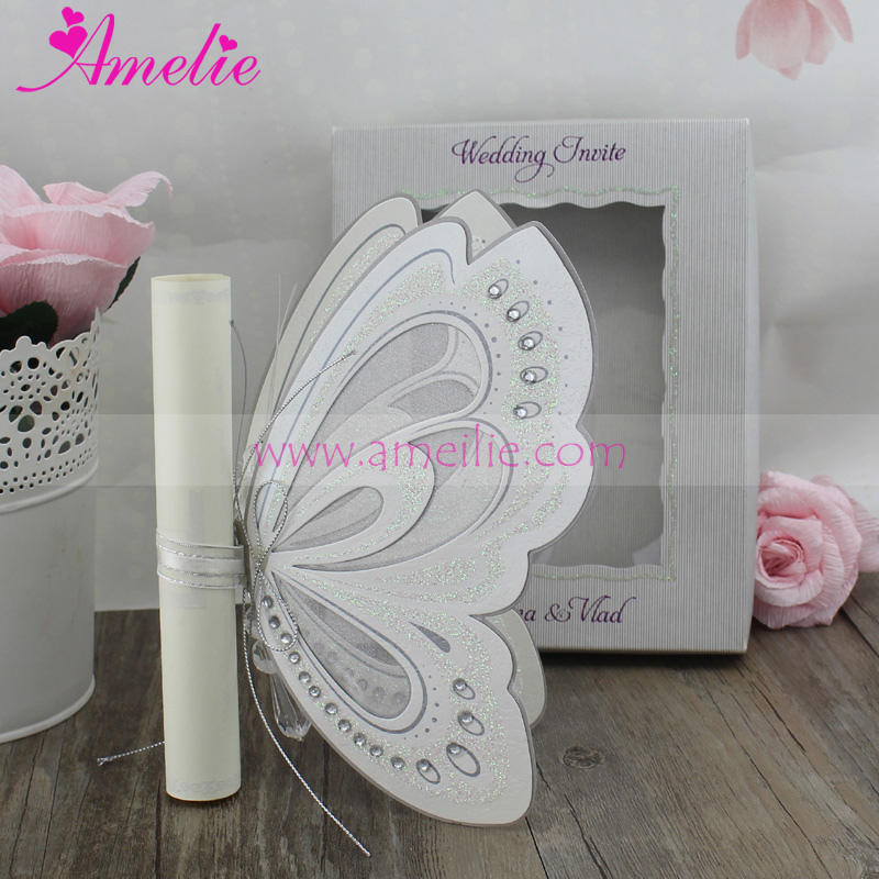 100pcs laser cutting butterfly invitation card wedding party royal