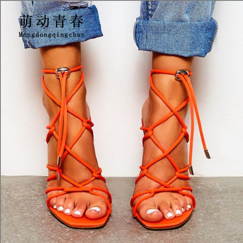 Size 35-42 Women Orange High Heels Sexy Hollow Out Cross Tied Summer Shoes Lace Up Ankle Wrap Ladies Party Nightclub Pumps