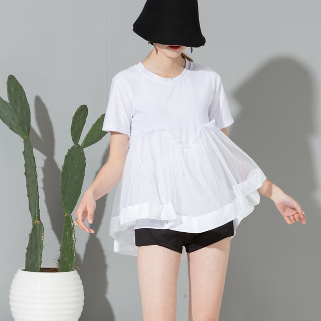 [soonyour]  2017 Summer Fashion Sweet New Short Sleeve White Cotton Lace T-Shirt Woman Y02300