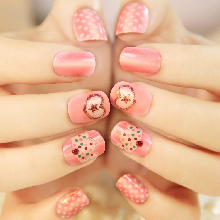 Patrón De Color Rosa Pastel Japonés Lindo Uñas Postizas Set
