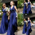 2017 Navy Blue Chiffon Bridesmaid Dresses Long Ruched V-neck Cheap Wedding Party Backless Chiffon Maid of the Honor Dresses B21