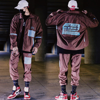 Mens Tracksuit 2 Pieces Sets Men Color Block Patchwork Jacket And Loose Fit Elastic Waist Pants Hip Hop Sweatsuits Streetwear