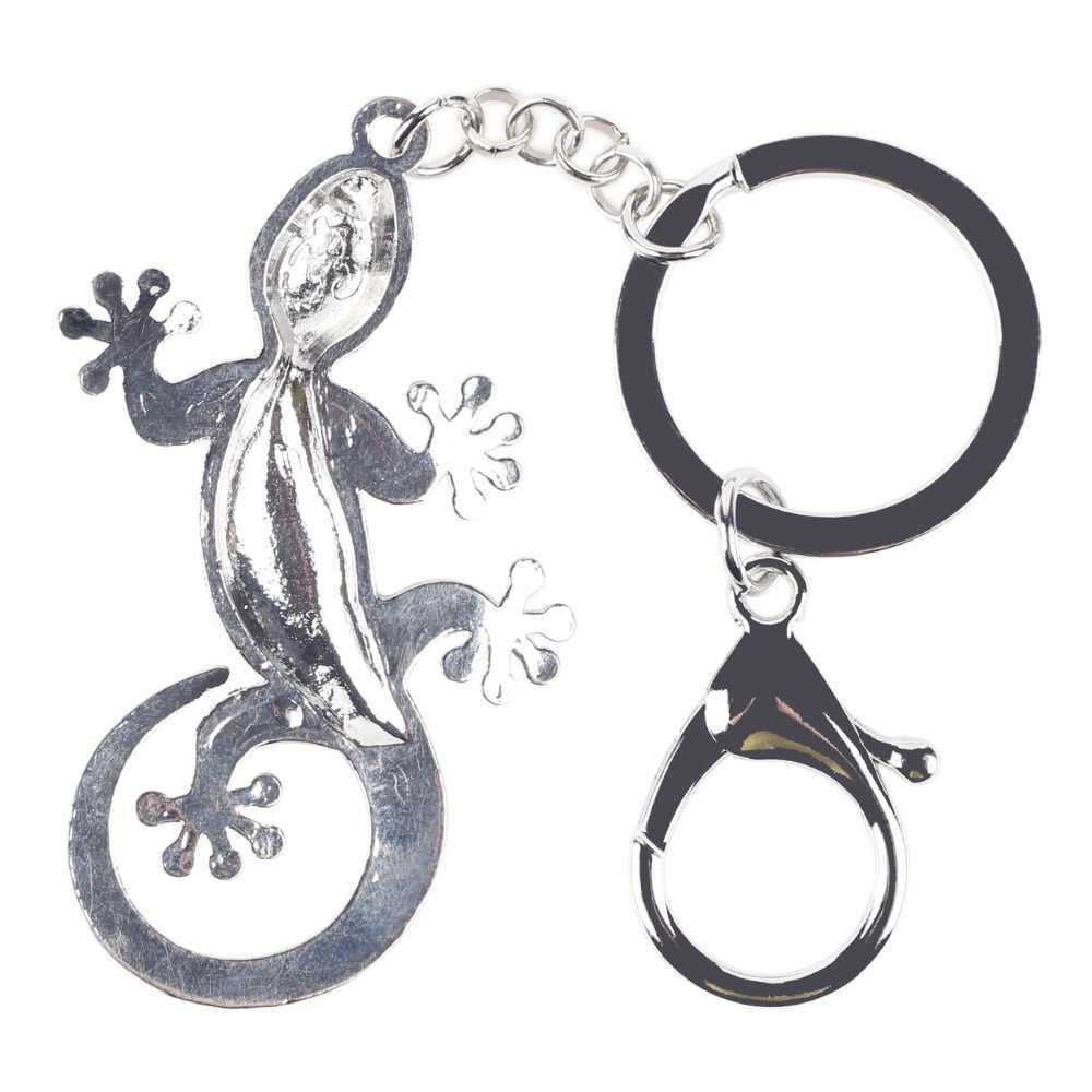 Bonsny 2016 de aleación de esmalte Gecko lagarto de aleación de Metal clave llave de cadena Pom regalo para mujer bolso encanto llavero colgante de joyería