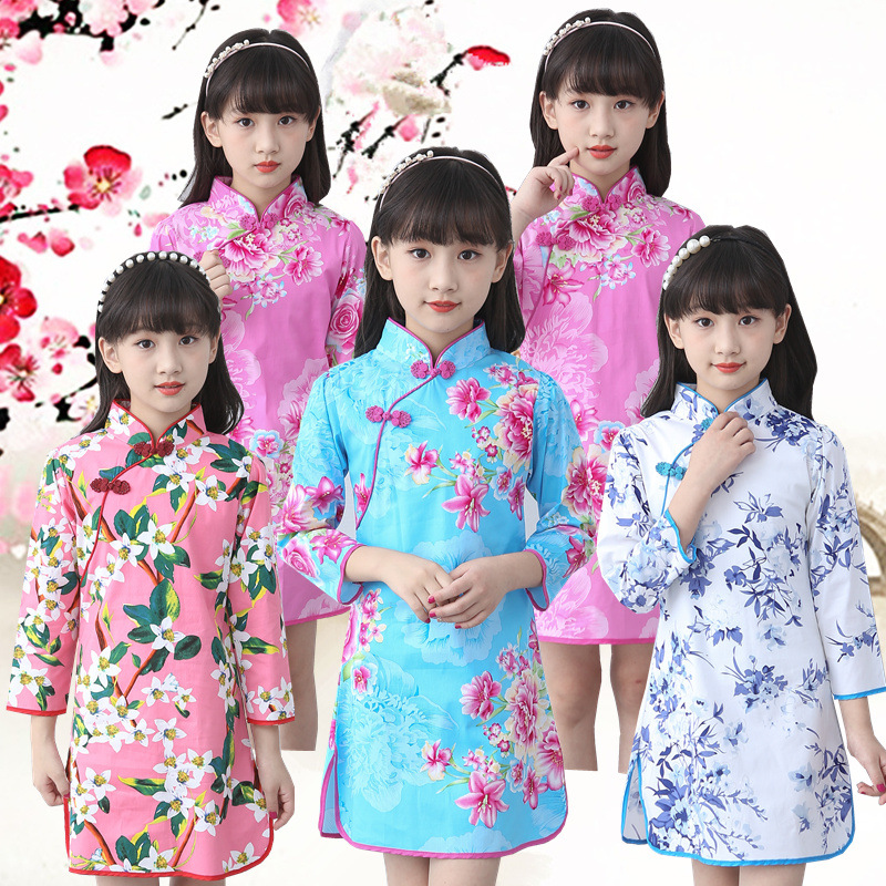 2-13Y Autumn Baby Girls Dresses Party Vintage Chinese Traditional Dress Cheongsam Wedding Next Costume Casual Children Clothing uoipae party dress girls 2018 autumn