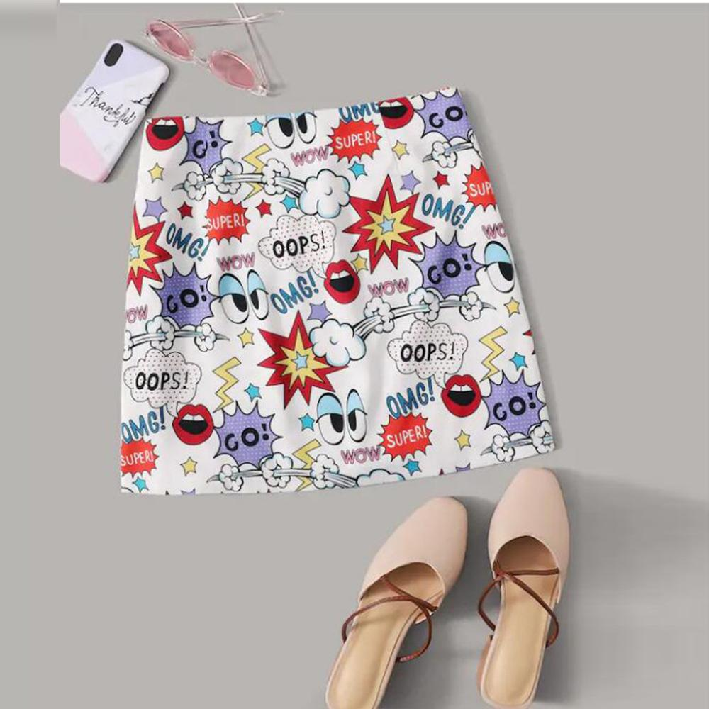 Womens Casual Fit Flower Print And Graffiti Elegant Waist Mini Skirt Women skirt Summer 2020 Sexy And Club rokjes dames40H