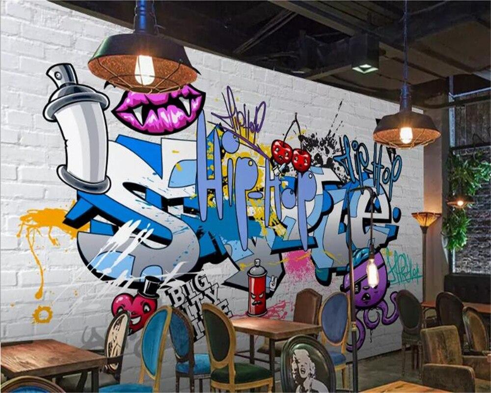 US $8 85 OFF Beibehang 3d Wallpaper European Street Graffiti Brick Wallpaper 3d Broken Wall Decoration Mural Bar Restaurant Background