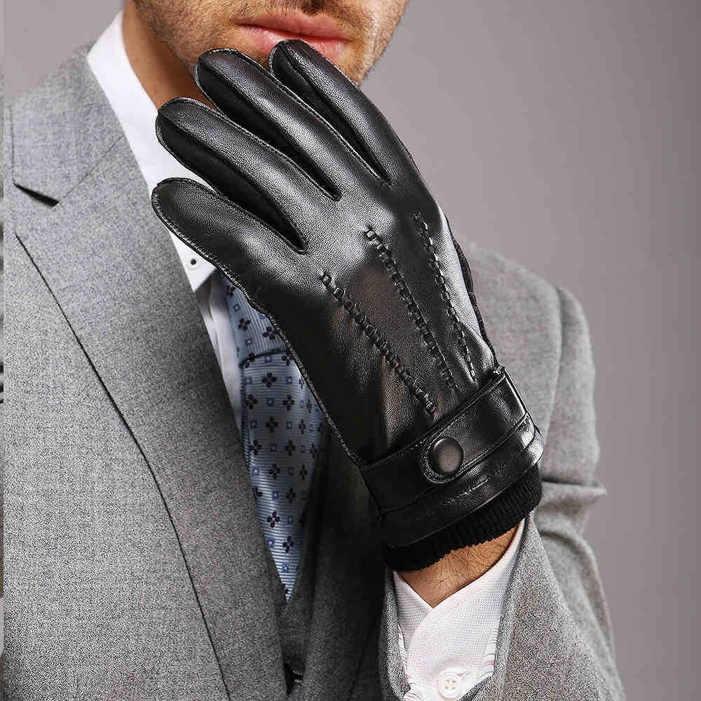 Quality leather driving gloves - Direct Selling Wrist Men Gloves Thermal Winter Driving Glove Fashion Black Genuine Leather Top Quality Goatskin