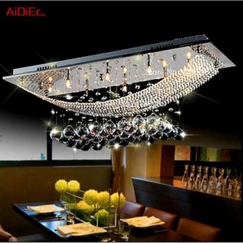 Continental Restaurant Hotel Villa living room lamp creative personality Nordic American K9 crystal chandelier rectangular 1
