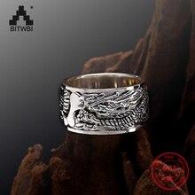 S925 sterling sliver requintado totem dominador rock thai anel de prata girando dragão masculino anel melhor jóias presente para o amante