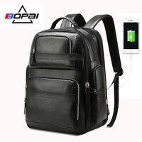 BOPAI из натуральной кожи рюкзак Многофункциональный USB зарядка Anti theft сумка для ноутбука 15,6 дюймов мужские ноутбук рюкзак перемещения