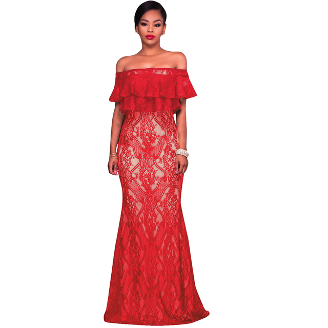 Women Ruffles Floor length Dress Off Shoulder Floral Lace Dress ...