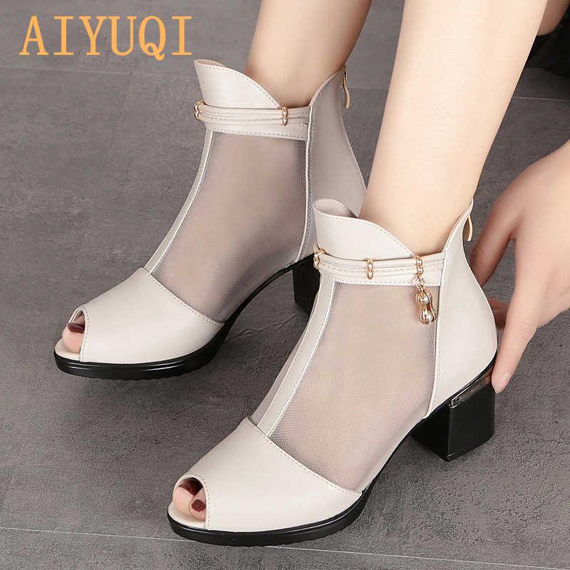 AIYUQI 2019 yeni sandalet yaz çizmeler kadın büyük boy 41 42 43 moda yüksek topuklu siyah sandalet hakiki deri Balık ağız