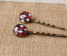 Preppy Scottish Tartan Cross Printed In Tiles Glass Cabochon In Hair Pins for Girls Mediterranean Style Bronze Pliers By Hand