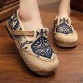 Этнический стиль вышивки женские ботинки холстины 2016 новых дышащий конопли веревки тканые плоские туфли отдых ретро вышитые туфли