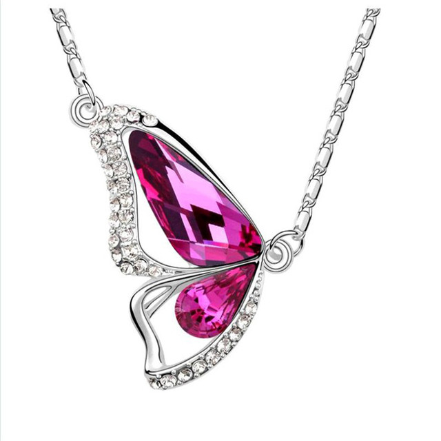 Butterfly Cubic Zircon Crystal Pendant