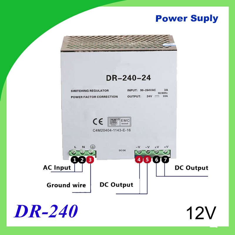 DR-240-12 Din rail power supply 240w 12V power suply 12V/24V/36V/48V 240w ac dc converter dr-240 good quality dr 240 din rail power supply 240w 48v 5a switching power supply ac 110v 220v transformer to dc 48v ac dc converter