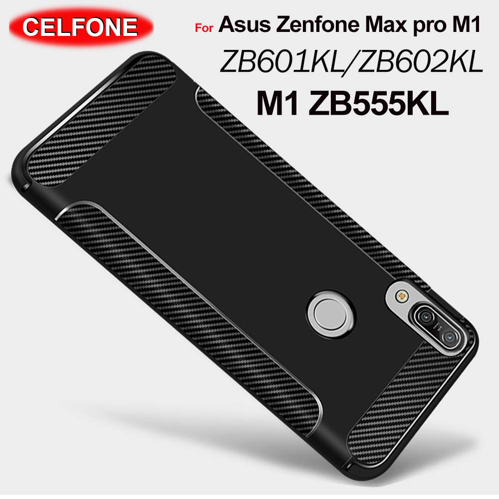 Asus zenfone max pro m1 zb601kl ZB602KL case ZB555KL cover Carbon Fiber TPU Silicone back cover Zenfone Max Pro M2 ZB631KL case