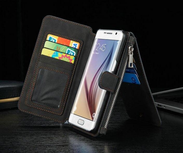 Цена за Магнитный кошелек Для Samsung Galaxy S6 Край Плюс чехол Оригинал PU кожа стенд Держатель Карты Для Samsung S6 Край Плюс Крышка Телефона