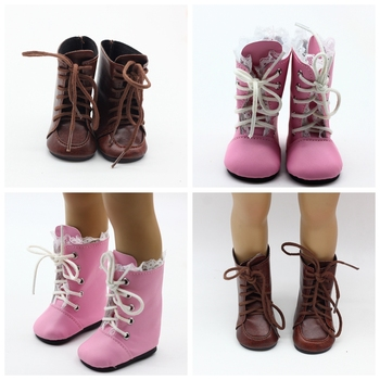 newest brown color doll lace martin boots high quality leather doll shoes 7cm for 18 inch american and 43 new baby dolls toy 1 Pair Shoes For 18 Inch Doll Toy Mini Doll Shoes  with Lace For 43cm Baby Doll Boots Dolls Sneackers Accessories Hot Sale 7 cm
