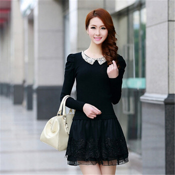 ASLTW Fashion Winter Dress Long Sleeve Women Casual Sweater Dresses Ruffle Basic One-Piece Pleated Slim Oversize Knit Pullover