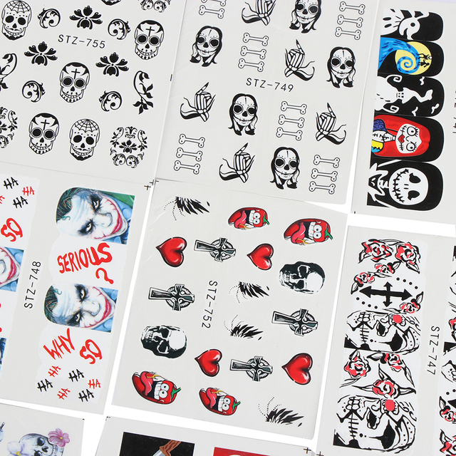25 Pcs Nail Sticker Halloween Black Skull Bone Spider Flower Party Decoration Water Tool Nail Art Stickers Beauty Manicure Tool Stickers & Decals