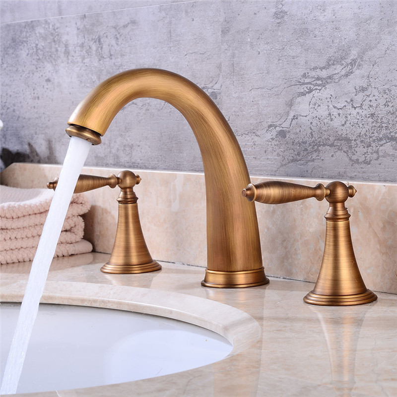 все цены на Widespread Basin Faucets Deck Mounted Bathroom Sink Faucets 3 Hole Double Handle Hot & Cold Water Tap La cuenca del grifo