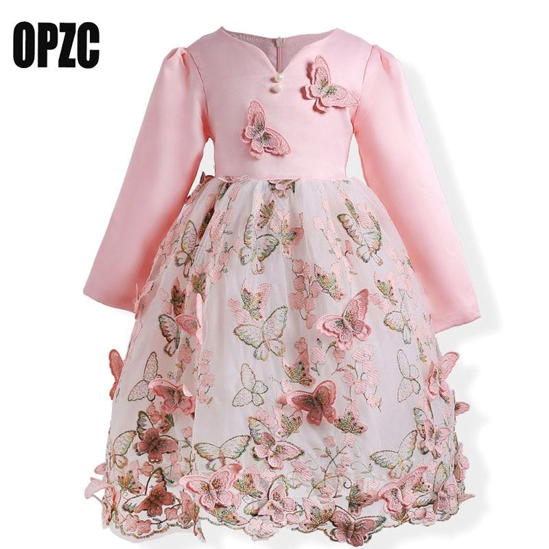 OPZC Little Girls Autumn Dresses 3D Butterfly Long Sleeve Dress Kids Toddlers Clothing vestidos toddlers girls dots deer pleated cotton dress long sleeve dresses