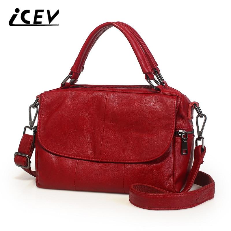 ICEV New Cowhide Women Leather Handbags Genuine Leather Bags Handbags Women Famous Brands Designer High Quality Top Handler Bags