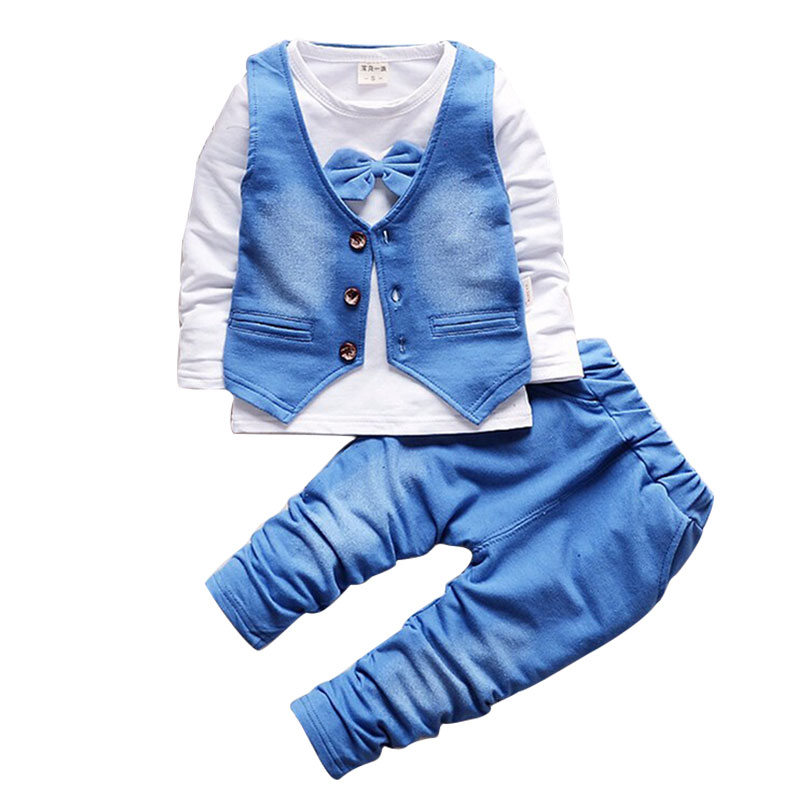 cf3761ca07373 2018 Fashion Baby Boy Clothes Sets Gentleman Suit Toddler Boys Clothing Set  Long Sleeve Kids Boy Clothing Set Birthday Outfits