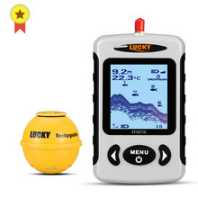 Russian menu!Lucky FFW718& FFW718LA Wireless Portable Fish Finder 45M/135FT Sonar Depth Sounder Alarm Ocean River Lake(China)