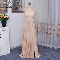 Champagne Chiffon Floor Length Wedding Party Dress Front Slit Halter Neckline Long Bridesmaid Dress F19608
