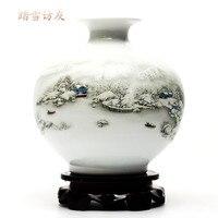 Creative apple vase Jingdezhen ceramic vase home living room new Chinese modern minimalist decorations porcelain ornaments
