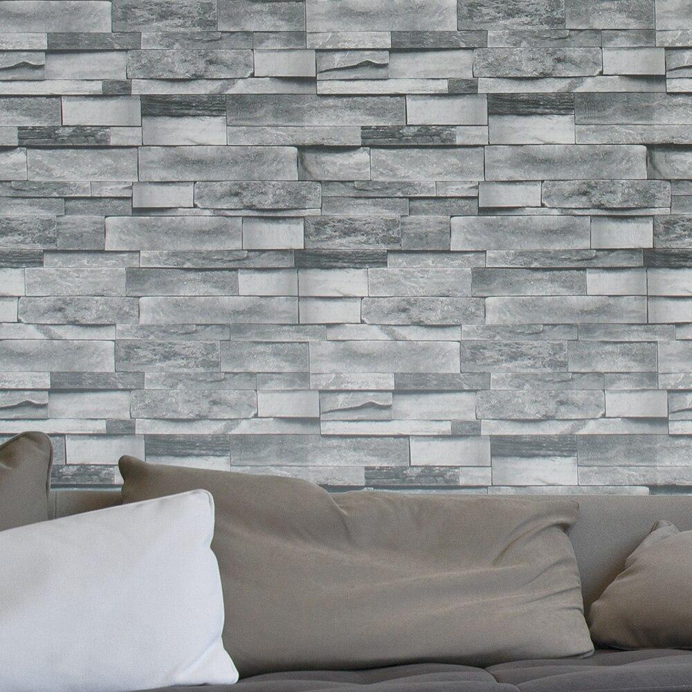 HaokHome Modern Faux Brick Wallpaper Vinyl For Walls 3d PVC Grey Textured Realistic Stone Rolls Living