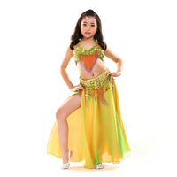 Kids Stage Performance Belly Dancing Clothes 3 Piece Oriental Outfit Bra Belt Skirt Girls Belly Dance