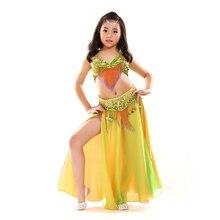 Crianças Sutiã Roupa Performance de Palco Roupas de Dança Do Ventre peças Orientais, cinto, Meninas saia Conjunto Traje de Dança Do Ventre para Crianças