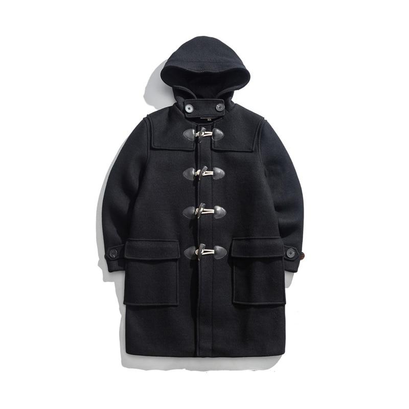 Mens Classic 35oz Woolen Duffle Coat Vintage Winter Warm Long Jacket Regular Fit