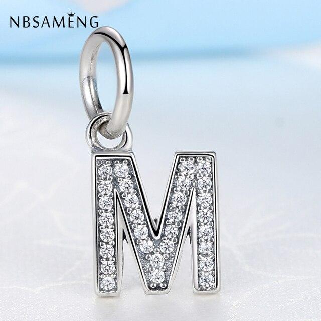 16d14292bb0b Authentic 925 Sterling Silver Bead Charm Alphabet Pendant Crystal M Letter  Bead Fit Women Pandora Bracelets