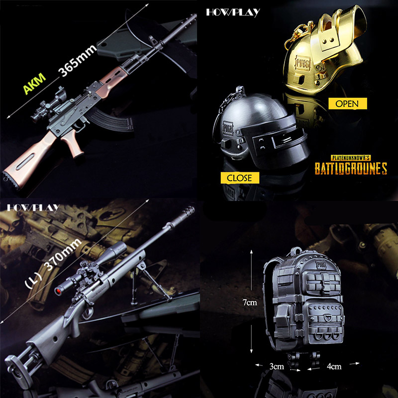 HowPlay PUBG keychain metal toy gun QBZ95 SLR AKM rifle Sniper M416 M24 AWM SKS Kar98k Game model war arms Collection gift Craft недорго, оригинальная цена