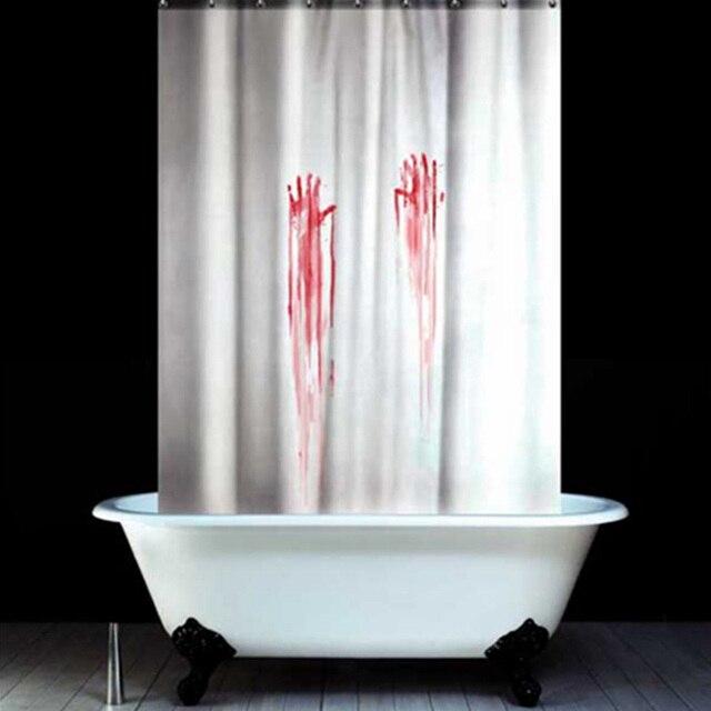 TH Halloween Shower Curtain Blood Fingerprint Psycho Bathroom Products Creative Polyester Bath Decoration 180