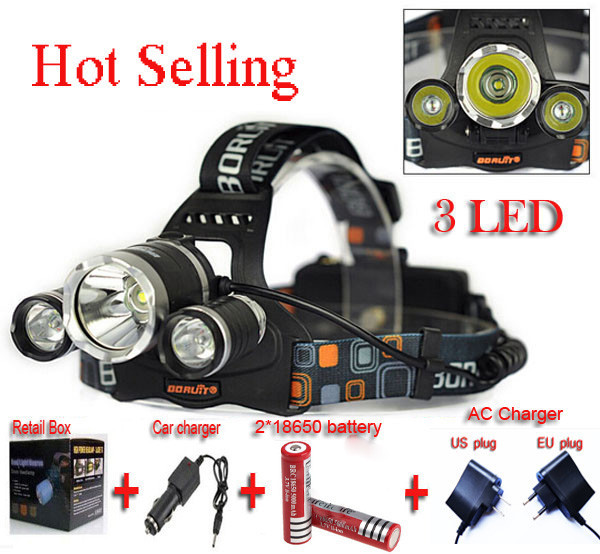 Boruit 3xCREE XML T6 LED Headlamp RJ-3000 5000 lumen Headlight 4 Mode bicycle light +Car Charger+AC Charger+2*18650 battery sitemap 59 xml