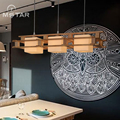 Japanese style wooden pendant light glass led suspension luminaire solid wood hanging lamp for dining room living room