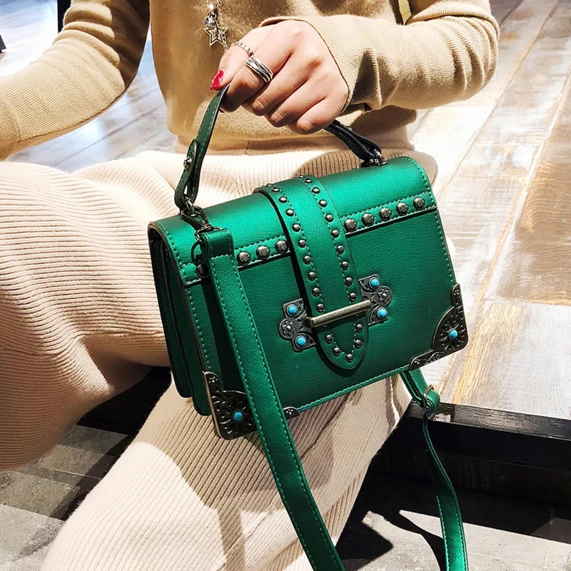 Rivet Turquoise Women Leather Handbags Vintage Sequined Small Las Shoulder Bags S Baobao Bag Dames Tassen Bolsa Sac N9037 In From