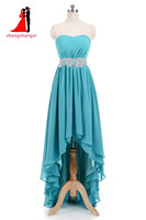 New Turquoise Hi Lo Chiffon Bridesmaid Dresses 2017 Lace Belt Plus Size Wedding Party Gown Maid