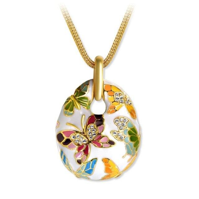 Разноцветные и Белой Эмалью Бабочки Кулон Ожерелье Позолоченный Кристалл Rhinestone Цепи Ожерелье Горячей Продажи XLN0114