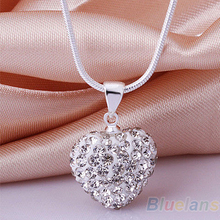 Women's Fashion CZ Crystal Heart Chain Necklace & Pendant