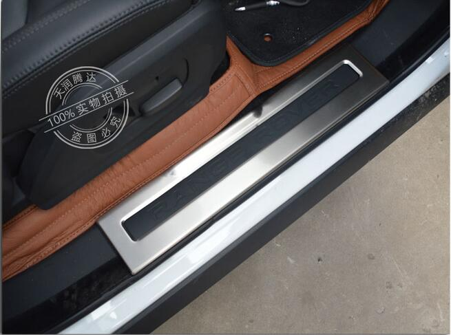 Inside Door Sill Scuff Threshold Plate Welcome Peda For Land Rover Range Rover Evoque 2012-2015 4pcs/set newest for land rover range rover evoque abs center console gear panel chrome decorative cover trim car styling 2012 2017