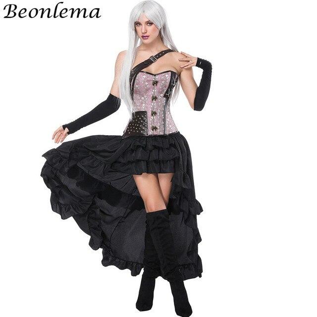 Beonlema 14 Steel Bones Steampunk Corset Dress Pink Rivet Busiter Tops One Shoulder  Strap Overbust Gorsage Long Elastic Skirt 761c23190f