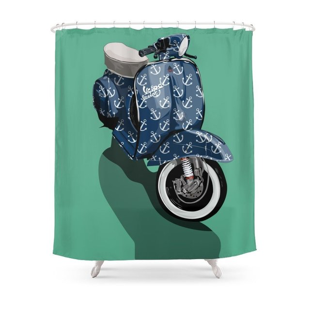 Vespa Vector Sailor Shower Curtain Waterproof Polyester Fabric Bathroom  Decor Multi Size Printed Shower Curtain
