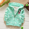 Spring Autumn Long Sleeved Candy Color Cartoon Girls Jackets Sweatshirts Cardigan Baby Infant Hooded Outwear Coats MT371
